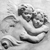 Innocent pair of angels in black and white — Stock Photo