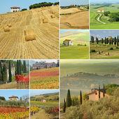 Collage di paesaggio con case di campagna in italia — Foto Stock