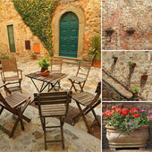 Collage with images from italian terrace, Tuscany, Europe — Stock Photo