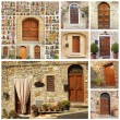 Poster with collection of many wooden doors from Italy — Stock Photo