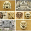Collage with   details of retro fountains in  Italy, Europe - Stockfoto