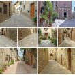 Collage of picturesque old streets in italian small towns — Stock Photo