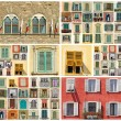 Collage with images of retro windows in Italy, Europe — Stock Photo