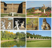 Poster with images of florentine historic Boboli Gardens, Tuscan — Stock Photo