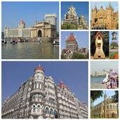 Collage con hitos de la ciudad india de mumbai — Foto de Stock