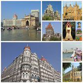 Koláž s památky indickém městě bombaj — Stock fotografie