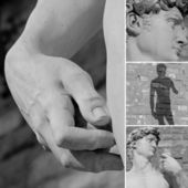 Collage with details of italian sculpture of David by Michelang — Stock Photo