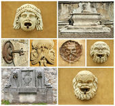 Collage with details of retro fountains in Italy, Europe — Stock Photo