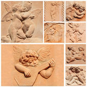 Tuscan craft collage, angelic reliefs in terracotta, Italy — Stock Photo
