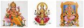 拉克希米和伽印度教神与组成 — 图库照片
