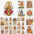 Foto Stock: Collage with hindu gods , India