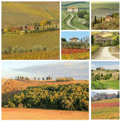 Tuscan landscape collage with country houses — Stock Photo