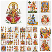 Collage with hindu gods , India — Foto Stock