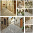 Collage with old narrow stone streets in Tuscany, Italy, Europe — Stock Photo #9986809