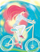 The girl and a bicycle — Stock Photo