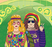 Two Young Hippies — Stock Photo