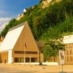 Vaduz - parliament of Liechtenstein and castle — Stock Photo