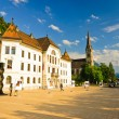 Main square with government building and cathedral in Vaduz, Liechtenstein — Stock Photo