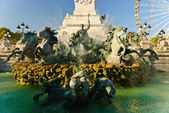 Fontaine des Girondins in the Quinconces square in Bordeaux, France — Stock Photo
