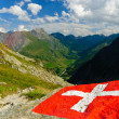 Stock Photo: Swiss flag with view of Val Ferret and Great Saint Bernard in Swiss Alps