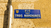 Street name plaque in old town of Bordeaux, France — Stock Photo