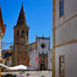Saint John Baptist church, market square in Tomar, Portugal — Stock Photo #9690125
