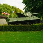 Allied Sherman tank in front of Museum Mémorial de la Bataille de Normandie museum, Bayeux, Normandy, France — Stock Photo