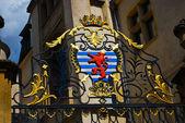 卢森堡-卢森堡在门的金属装饰徽章的 — 图库照片