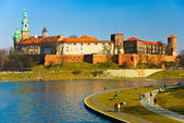 Wawel castle and Vistula boulevards in Cracow, Poland — Stock Photo