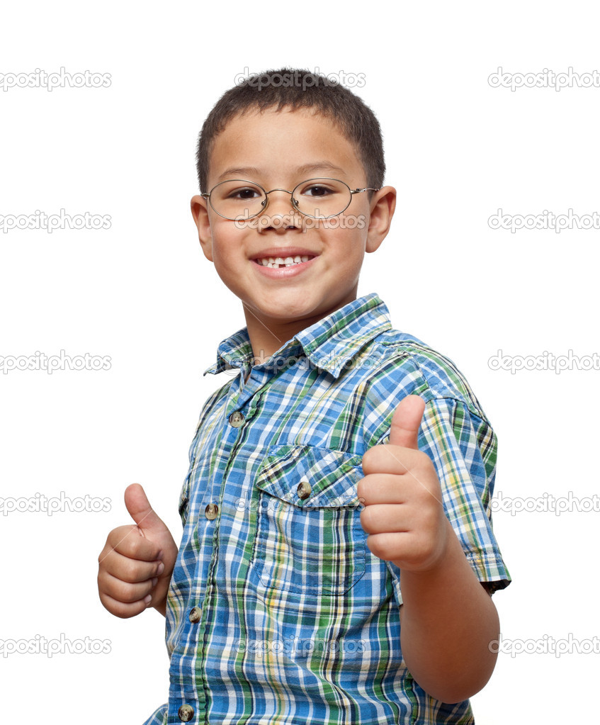 Cute, smiling, elementary age boy with glasses making thumbs up sign against white background. — Stock Photo #8285690