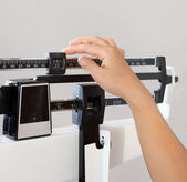 Woman on Weight Scale Closeup — Stok fotoğraf