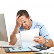 Young Man Worried About Bills — Stock Photo