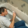 Tiling the Bathroom — Stock Photo