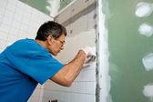 Tiling the Bathroom Tub Enclosure — Stock Photo