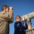 Happy Skywatching and Birdwatching — Stock Photo
