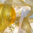 Royalty-Free Stock Photo: Golden Christmas Baubles and Ribbons