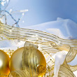 Stock Photo: Gold and Blue Christmas Baubles Background