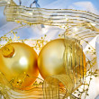 Stock Photo: Blue and Gold Christmas Ornaments Still Life