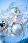Blue Christmas Ornaments Abstract — Photo