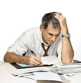 Man Paying Bills and Worrying — Stockfoto