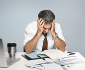 Stressed Man Worries About Economy, Paying Bills, Retirement — Stock Photo