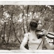 Violin Girl Antique Postcard — Stock Photo