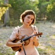 Violin Girl Portrait in Nature - Stock Photo