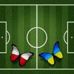 Poland ukraine flag butterflies on football field white lines on — Stock Photo #10544690