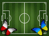 Poland ukraine flag butterflies on football field white lines on — Stockfoto