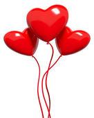 Three red hearts-balloons — Stock Photo