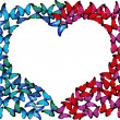 Royalty-Free Stock Photo: Many blue and pink butterflies make frame of heart on white