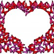 Royalty-Free Stock Photo: Many red and pink butterflies make frame of heart on white