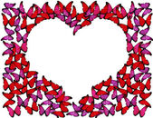 Many red and pink butterflies make frame of heart on white — Stock Photo