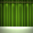 图库照片: Illuminated green wall and white floor